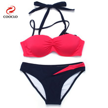 hot sale fashion patchwork sexy bikini women swimwear bandeau top
