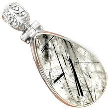 Lovegem Black Rutile Pendant 925 Sterling Silver,43 mm, AP2153