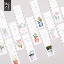 Kreative grüne pflanze topfpflanzen kaktus papier lesezeichen schreibwaren lesezeichen buch halter nachricht karte schulbedarf papelaria
