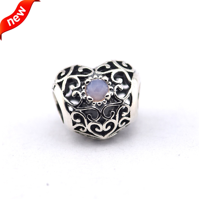 2a5d2182b ... Fits For Pandora Bracelets October Signature Heart Charms with  Opalescent Pink Cryst 100% 925 Sterling ...