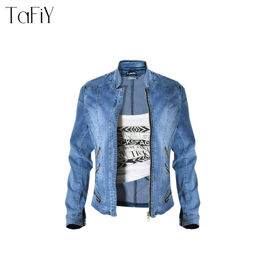 37b9e45633 Vintage De Cremallera Azul Ropa Motocicleta Chaqueta Larga Jeans 2018 La  Mujer Tafiy Vaquera Abrigo Manga ...