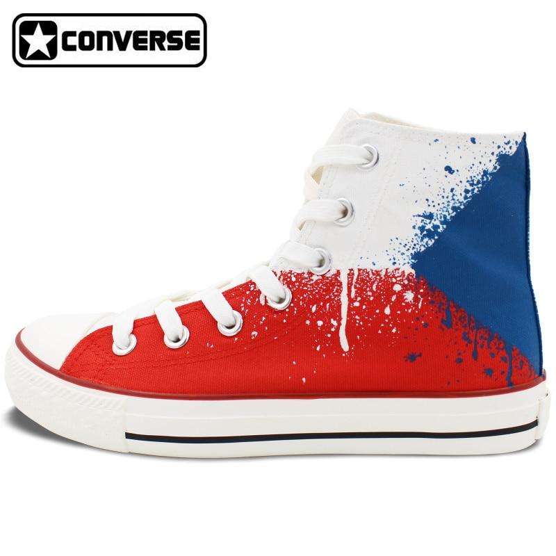 Czech Flag Converse All Star Hand Painted font b Shoes b font Custom Design Unique High