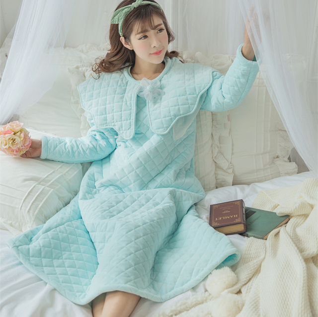 Winter Nightgown Women Sleepwear Cotton Nightgown Thickened Long Nightgown Vintage Priness Nightdress Sleepwear Warm HighQuality
