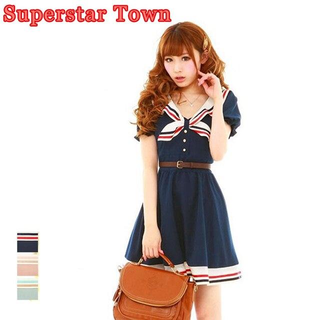 895229a7d moda mujer vestidos mujer Lolita Girls Estilo Marinero de Rayas Vestido de  Verano Japonés Preppy Patchwork ...