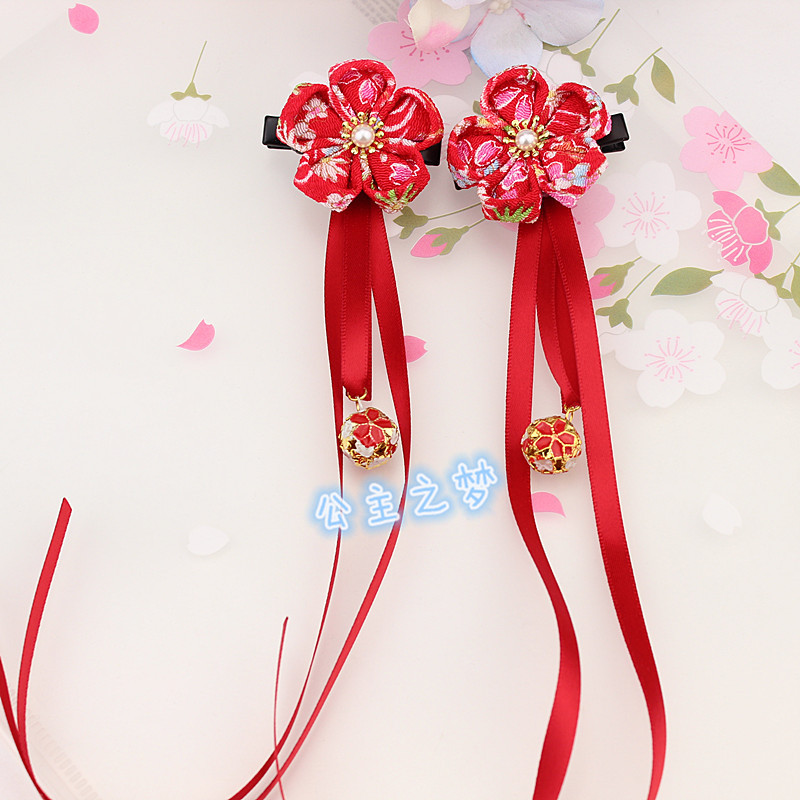 Princess Hair Clips Hairpins Kanzashi Yukata Kimono Accessories Red Pink Girls Tassel Flower Ribbon Beading Festival Present