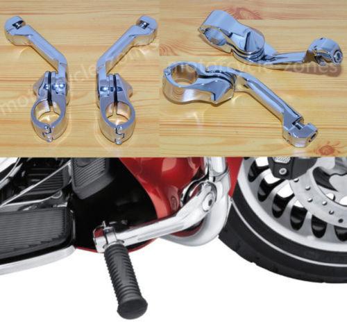 "Motorcycle Chrome Angled Adjustable 1 1//4/"" Engine Guard Highway Footpeg Mount"