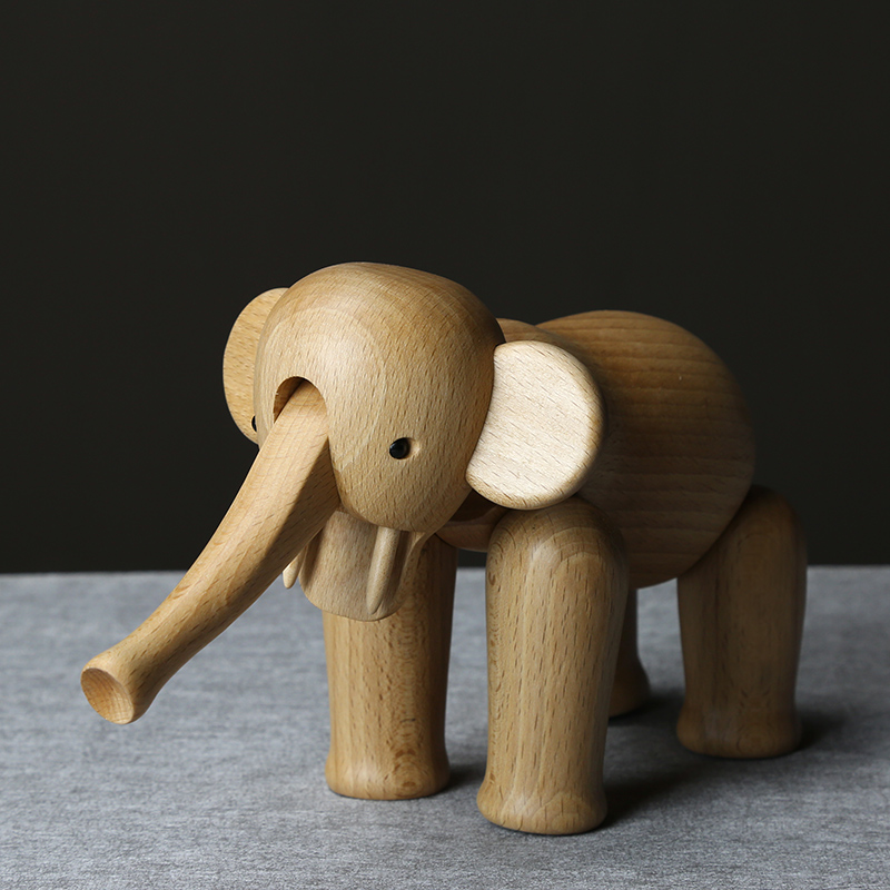 Décor à la maison en bois massif ornements en bois de hêtre taille éléphant en bois artisanat décoration de la maison cadeaux d'anniversaire en bois cadeaux