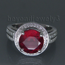 Vintage Round 9mm Solid 14kt White Gold Heated Ruby Red Blood Engagement Ring, Diamond Ruby Fine Jewelry R00122