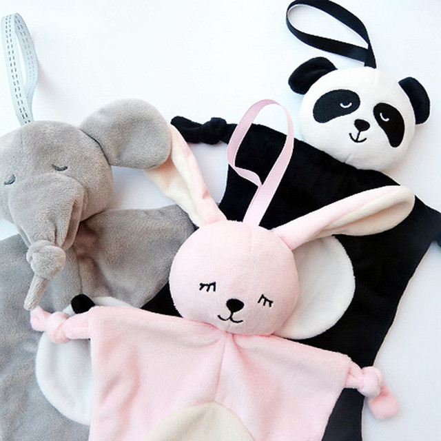 Newborn Baby Toys Pacifier Doll Soothing Towel Blankie Infant Soft Soother Towel Cartoon Animal Educational Elephant Plush Toys