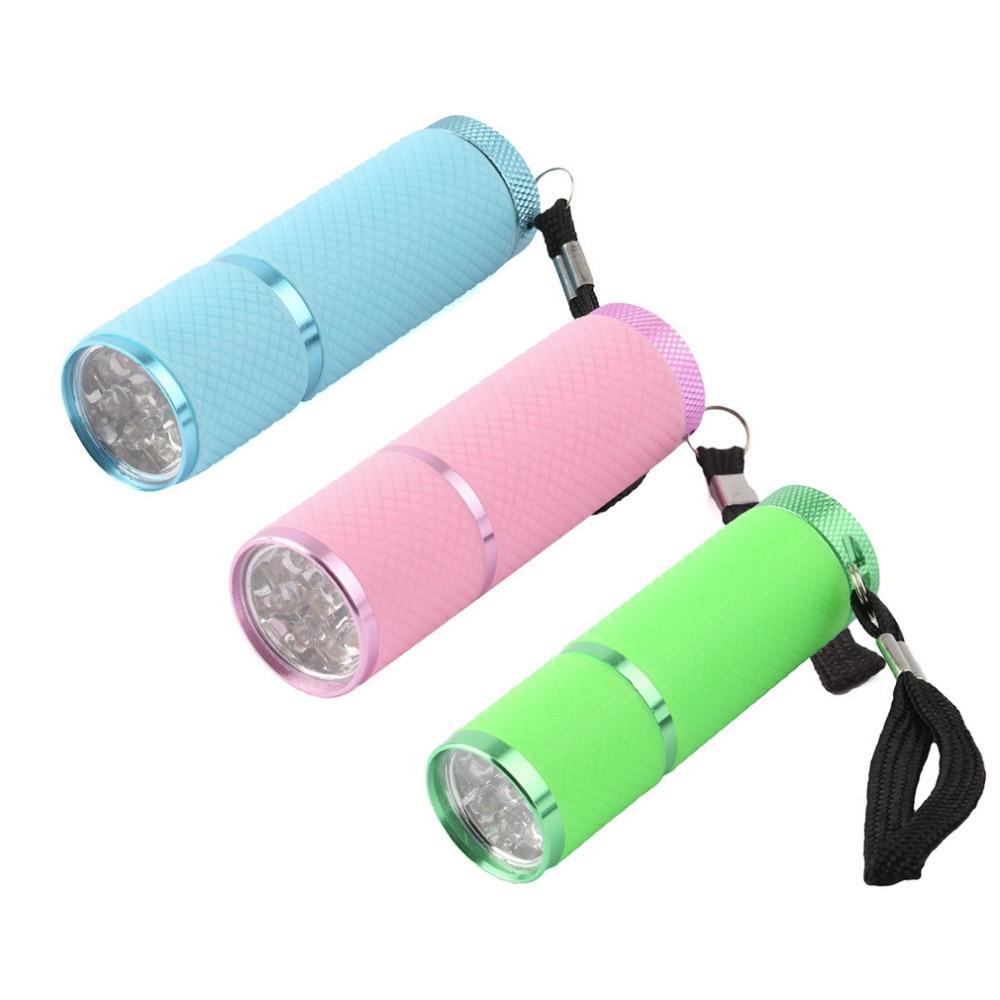 Lovely Mini UV Gel Lamp Portability Nail Dryer LED Flashlight Currency Detector 9  LED Aluminum Alloy AAA Battery In LED Flashlights From Lights U0026 Lighting On  ...