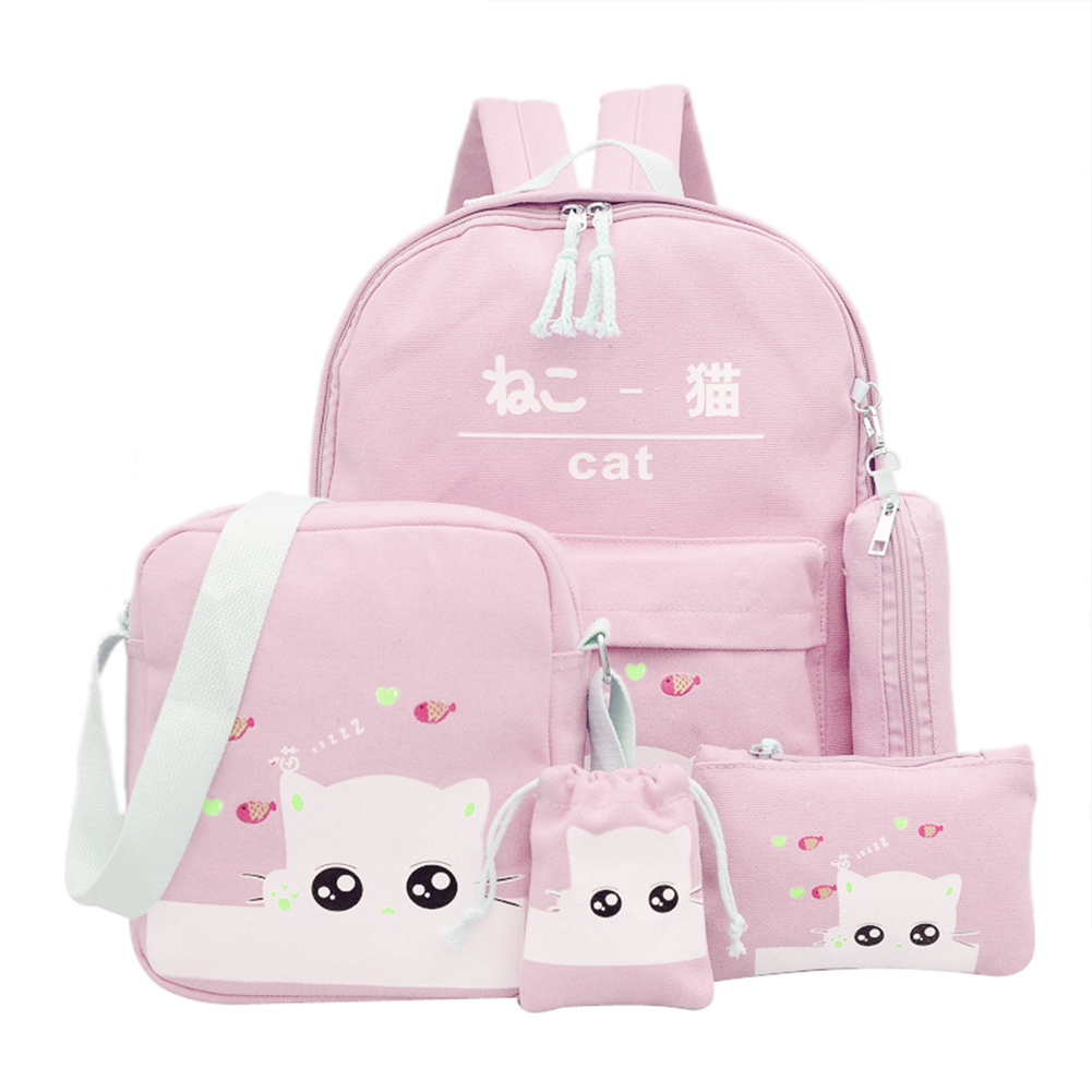 Lovely Cute Cat Printing Backpack 5pcs/set Women Canvas Backpacks School Bags For Teenagers Girls Lovely Rucksack Escolar