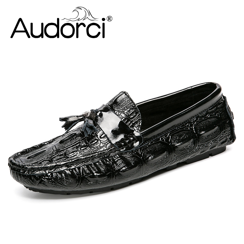 Audorci Brand Mens Loafers Casual Shoes Fashion Peas Shoes Patent Leather Men Moccasins Slip On Men's Flats Male Driving Shoes mens leather loafers new 2017 casual flat shoes men driving moccasins fashion slip on mens working flats sapatos