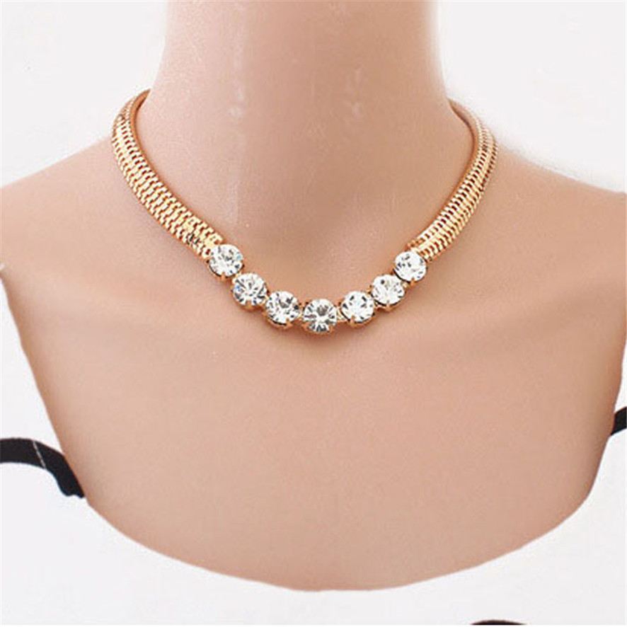 2018 HOT Brand Jewelry Gold Thick Chain Street Snap Lady Shiny Rhinestones Necklace 1809172510M