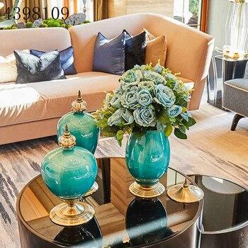 1PCS European luxury ice crack ceramic vase decoration home decoration crafts living room hotel table decoration vase decoration