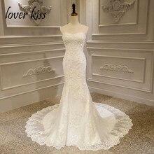 Lover beijo vestido de noiva sereia 2020 rendas acima strapless frisado vestidos de noiva robe de mariage sirene