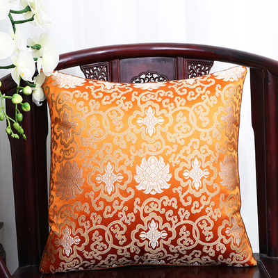 Винтажная квадратная большая подушка для дивана, стула, автомобиля, Высококачественная декоративная шелковая парчовая Подушка для спины 40x40 43x43 40x50 50x50 60x60 см - Цвет: Оранжевый