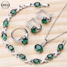 Bridal Jewelry Sets For Women Wedding 925 Sterling Silver Jewelry Green Zircon Rings Bracelet Earrings Necklace Set Gifts Box(China)