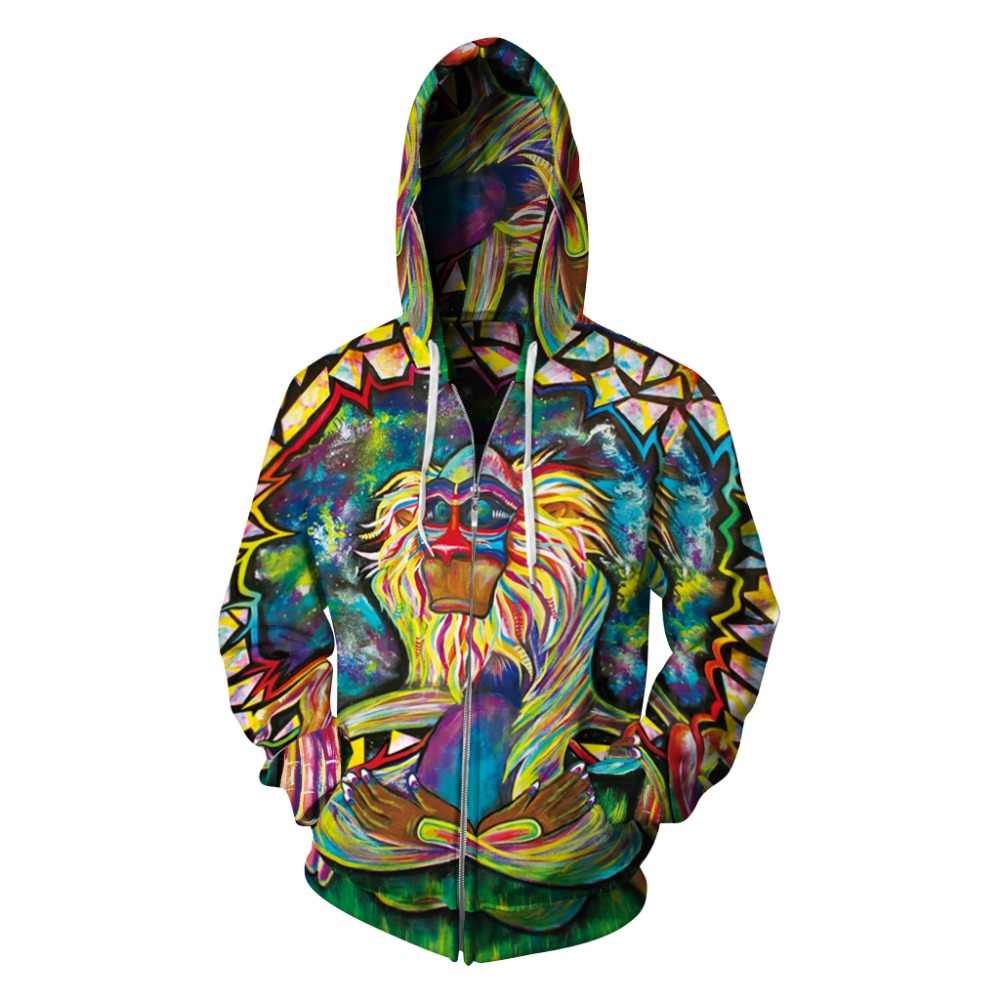 Women/Men Sports Hoodies Loose Sweatshirts Monkey Print 3D Zipper Jackets Sportwear Hip Hop Tops Running Pullover Cycling Hooded цены