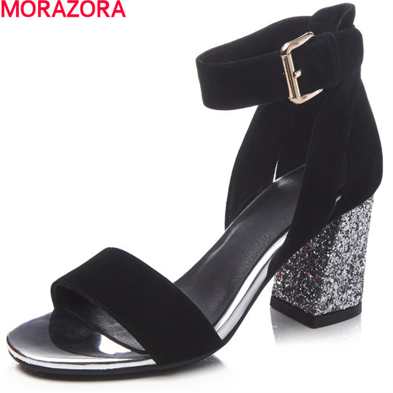 MORAZORA large size 34-39 summer women sandals thick high heels open toe solid black Pink ankle strap party shoes woman suede slingback 9 bling black women pointed toe large size summer flats rhinestone sandals ankle strap ladies beautiful shoes