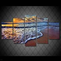 Hdプリント海景日没海ビーチ絵画キャンバスプリントルームの装飾プリントポスター画像キャンバス送料無料/91048