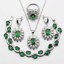 Attractive 925 Sterling Silver Flower Green Zircon Jewelry Sets For Women Ring Size 6/7/ 8/9/10 Free Gift Box W230(China)