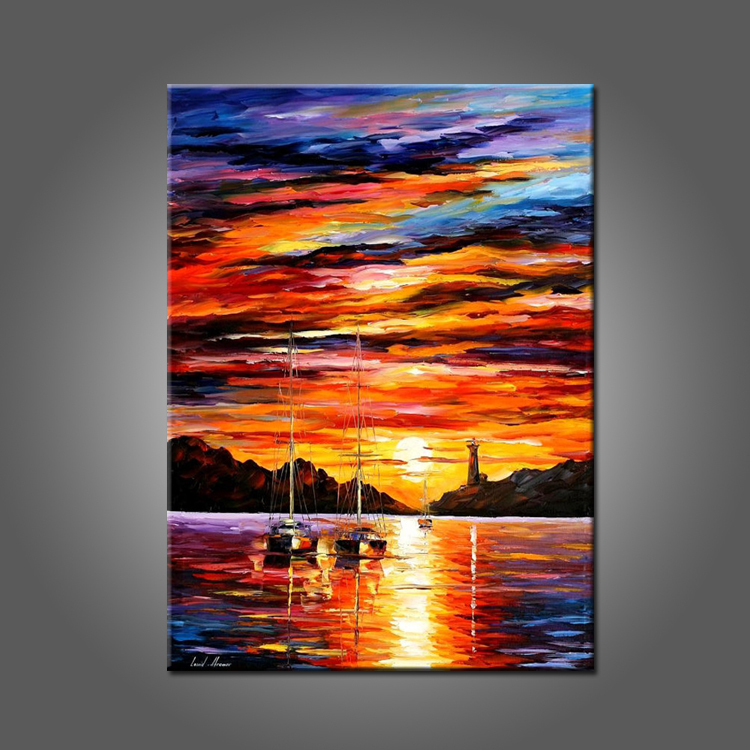 Suset landscape oil painting on canvas beautiful sunrise painting for living room decor handmade for Landscape paintings for living room