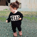 ins* newest 2015 baby kids knitted cotton sweaters child autumn winter top clothing HELLO BYE design high quality free shipping