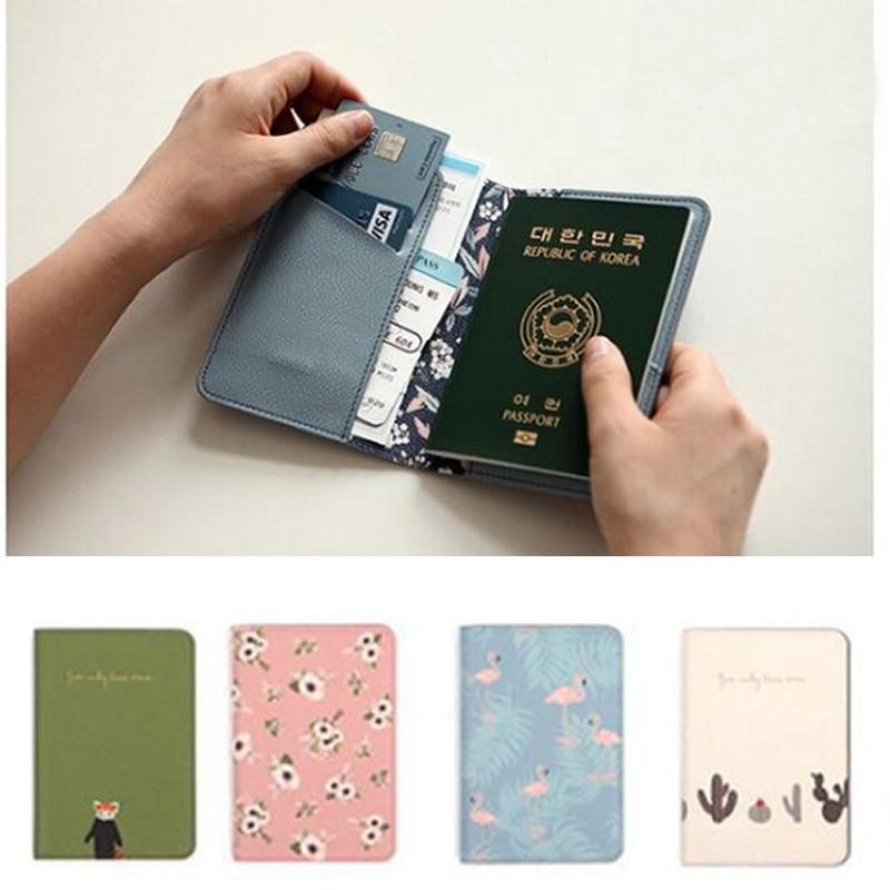 Creative Cartoon Flamingo Passport Holders Covers Travel Accessories  PU Leather ID Bank Card Bag Women Passport Business Case