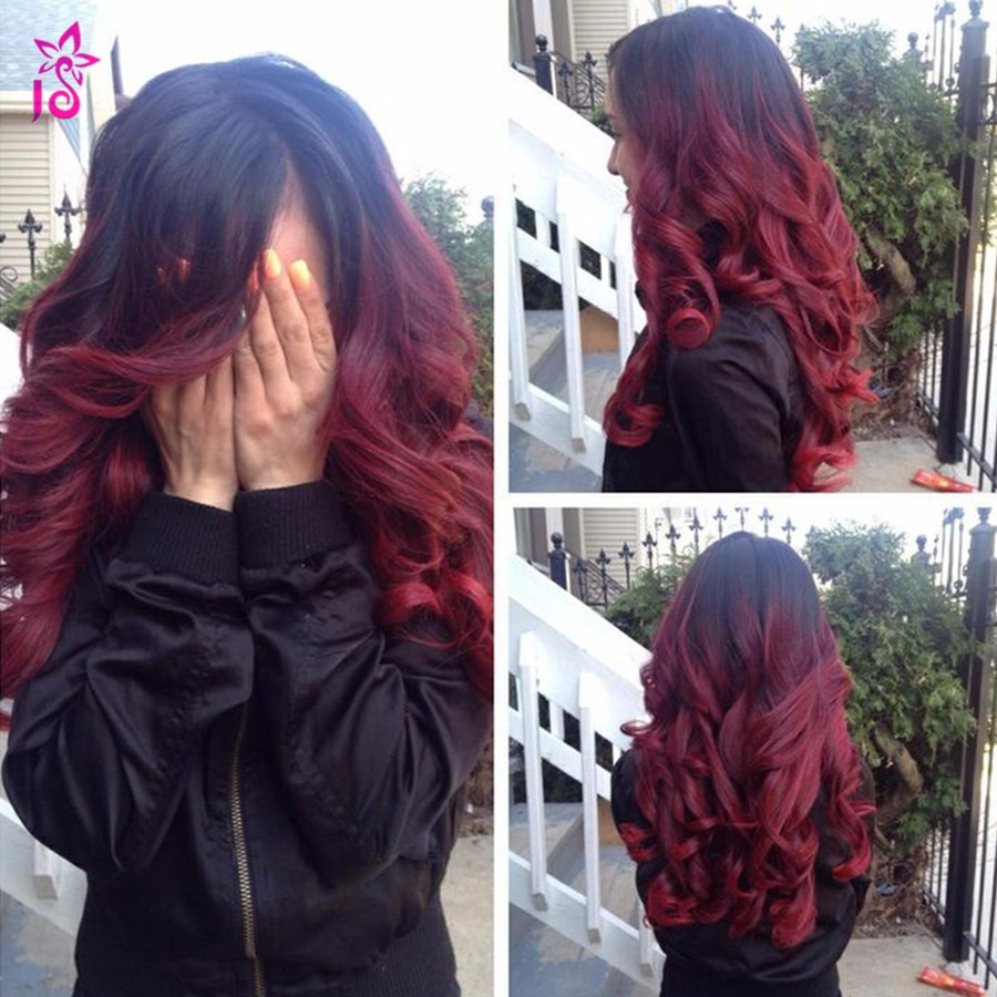 Ombre Peruvian Loose Wave Burgundy Pineapple Wave Hair 99j
