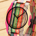 De madera de las mujeres relojes de marca de moda de lujo señoras reloj colorido cuarzo casual relogio feminino reloj de madera de bambú