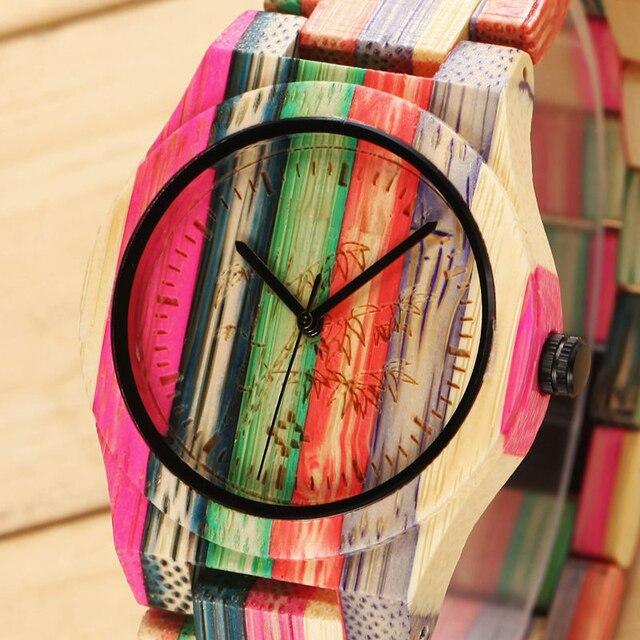 Frauen Holz Uhren Marke Luxus Mode Damen Bambus Uhr Bunte Beilaufige