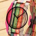 Madeira relógios das mulheres marca de moda de luxo senhoras relógio colorido casual quartz relógio de pulso relogio feminino de madeira de bambu