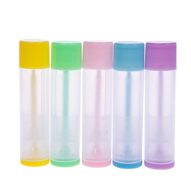 10PCS 5g DIY Empty Colorful Transparent Lip Balm Lipstick Cream Tube Bottle Mouth Lip Balm Stick Sample Cosmetic Container ZKH11
