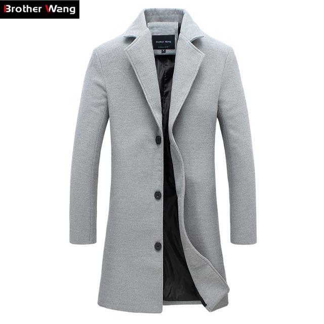 Casaco de lã cor sólida dos homens novos Da Moda longo parágrafo de Slim lapela casaco ternos dos homens de Negócio masculino jaqueta casual 4XL 5XL
