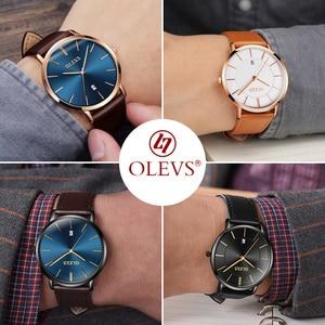 Image 5 - Olevs relógios masculinos marca de luxo esporte relógio de pulso à prova d30 água 30m ultrafinos relógio de quartzo data relógio masculino relógios de couro