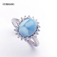 CSJ Real Larimar Rings Sterling 925 Silver Blue Larimar OV8*10 Wedding Engagement Bands for Women Lady Girl Gift