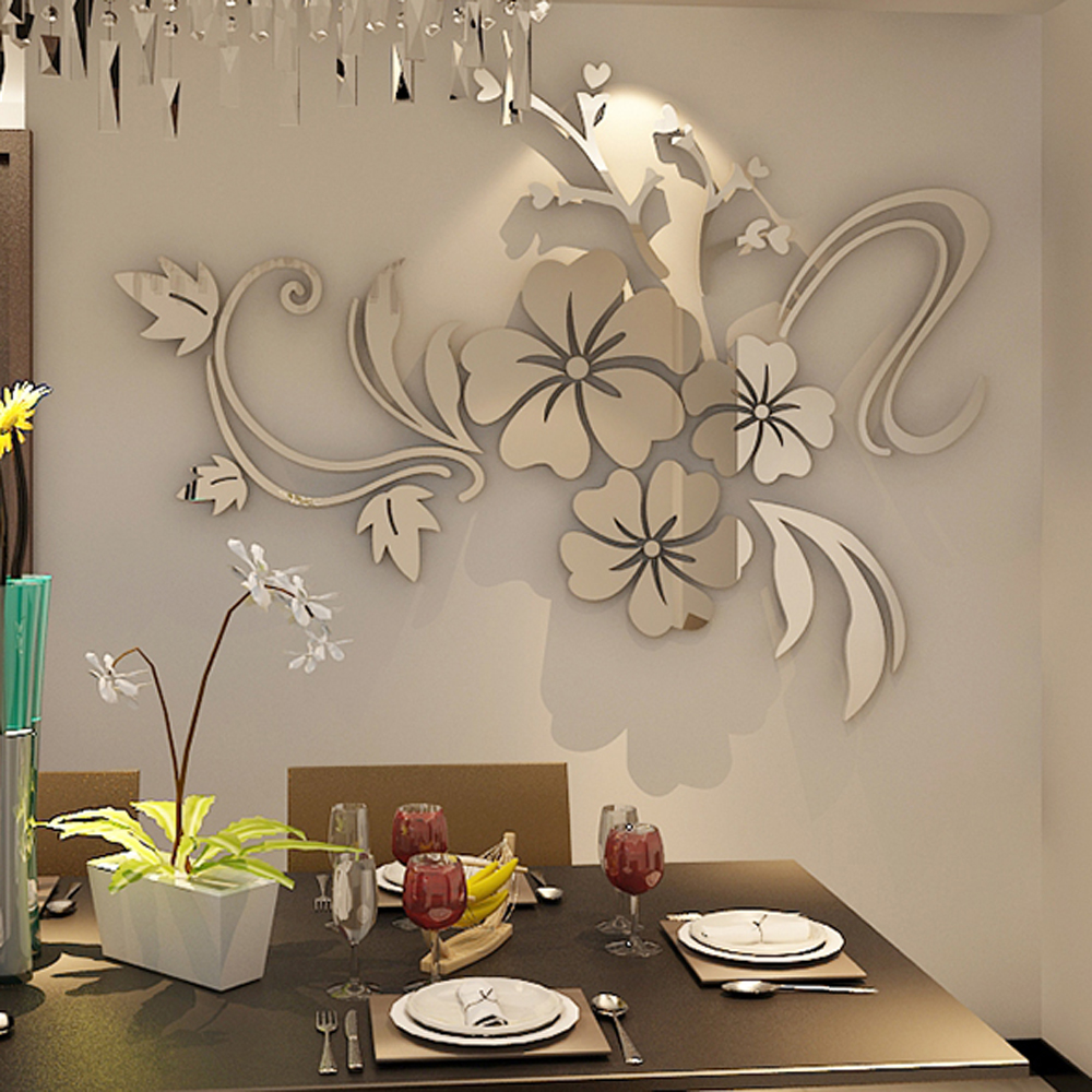 romantic flower acrylic mirror wall sticker for living room home decoration 3d wall decals diy home