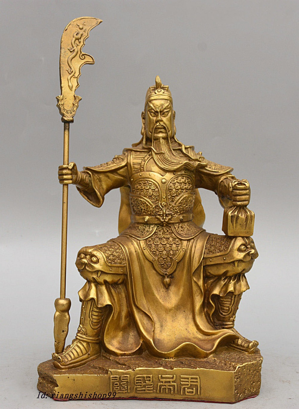 Christmas 10 Chinese Brass Sit Stone Warrior GuanGong GuanYu God Hold Dragon Sword Statue Halloween