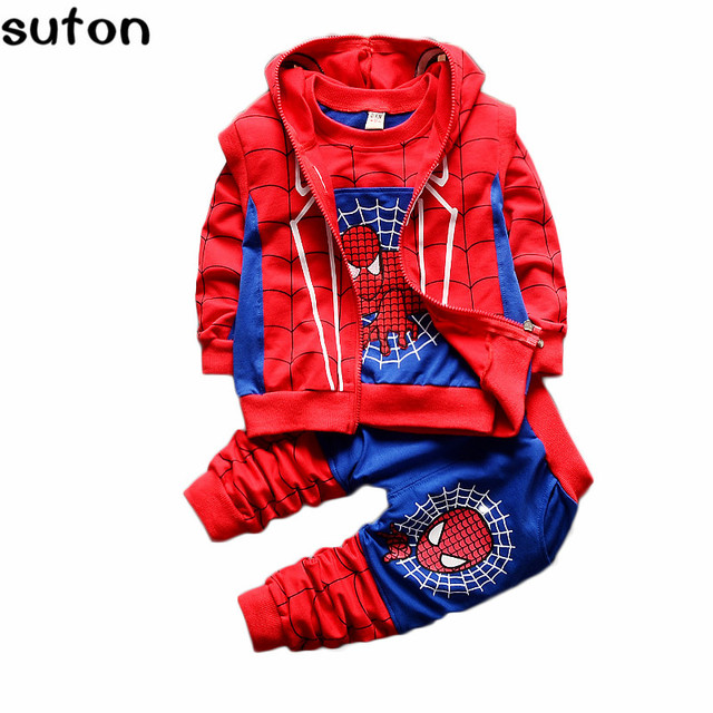 2017 New Style Baby Boy Clothing 3pcs Suit/set Children Spiderman Long Sleeves T-shirt+hooded Zipper Vest+patchwork Pants Sets