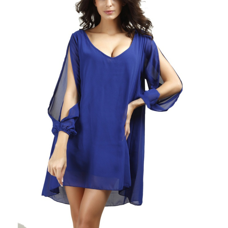 Summer Hollow Out O-Neck Chiffon MINI Dress Women Fashion Long Sleeve Off Shoulder Dresses Sexy Loose Vestidos Plus Size