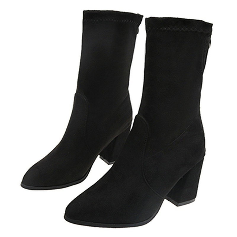 f12ecf1cba94bf À D'hiver Dames En mollet 35 Talons Chaussures Mi marron Pointu Orteils Femme  Bottes Mode Femmes Taille Noir Chaussure 40 Robe Boot Hauts Coudre De Zip  ...