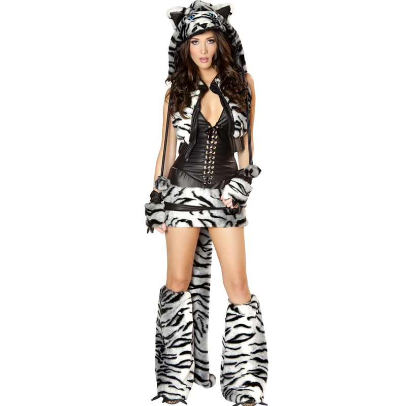 2017 New Women Sexy Halloween Costume Faux Fur And Leather White Tiger Role-Playing Games Tigers Cosplay Sexy Costumes
