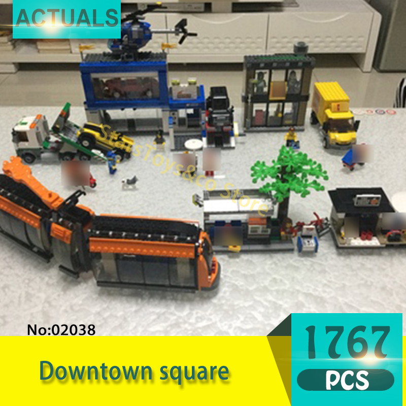 Lepin 02038 1767Pcs City series Downtown square Model Building Blocks Set  Bricks Toys For Children  Gift lepin 02012 city deepwater exploration vessel 60095 building blocks policeman toys children compatible with lego gift kid sets