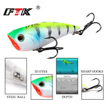 Купить с кэшбэком FTK 3D Lifelike Eyes Popper Fishing Lure 70mm 6#high carbon steel Treble hook Crankbait Wobblers Tackle Floating Topwater