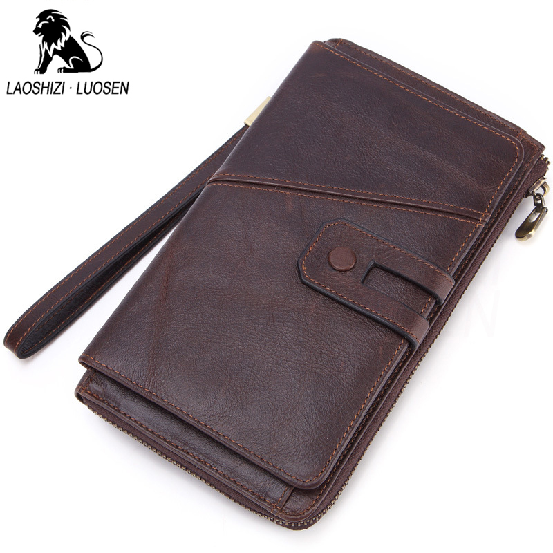 Cowhide Hasp Men Clutch Wallets Genuine Leather Long Purses Business Large Capacity Wallet Double Zipper Phone Bag For Male Gift genodern business men clutch bag cowhide men clutch wallets 100% genuine leather clutch hand bag zipper long wallet for male