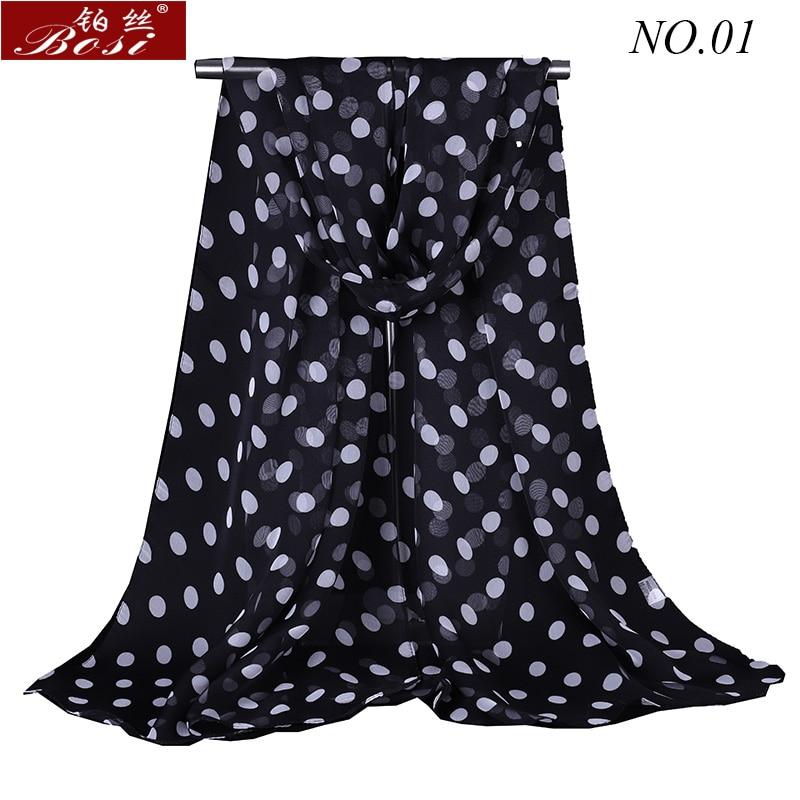 Bosi Silk Scarf Dot Fashion Shawls For Women Wraps Bandana Ladies Cape Female Stoles Floral Scarfs Hijab Muslim Wrap Wholesale