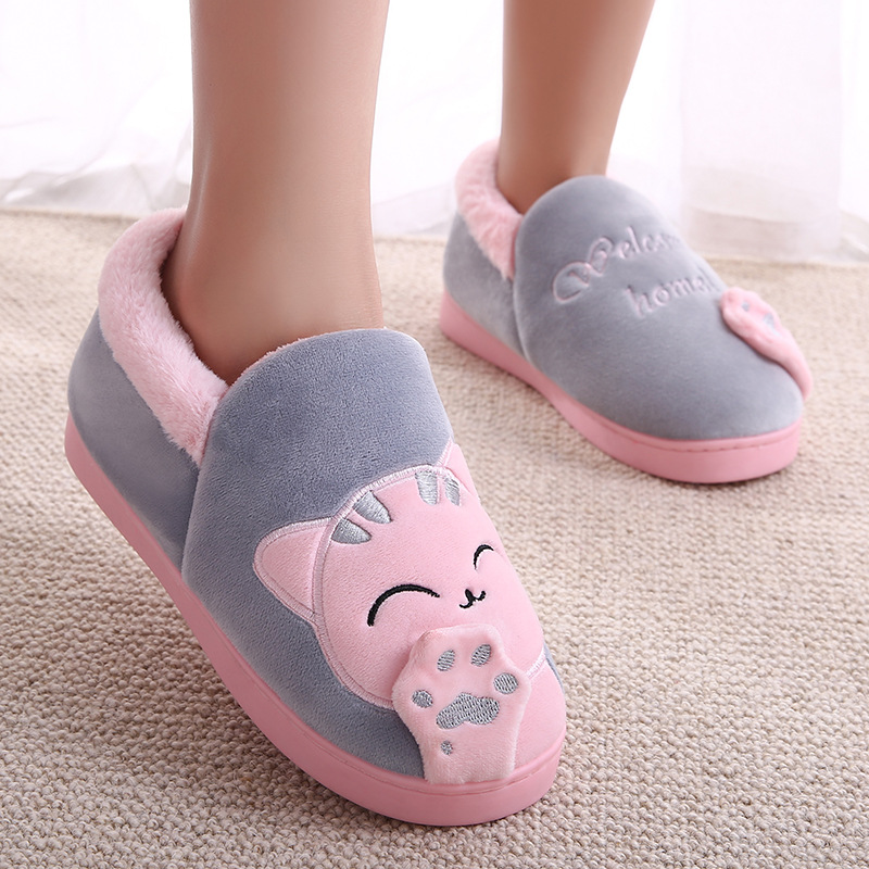 Home Slippers Women Cartoon Cat Home Shoes Non-slip Soft Winter Warm Slippers Indoor Bedroom Loves Couples Shoes Plus Size 1
