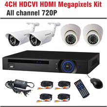 New HDCVI system 720P 1.0MP 4CH Bullet Dome Surveillance Security Camera CCTV 4 Channel CCTV Kit Security Camera System
