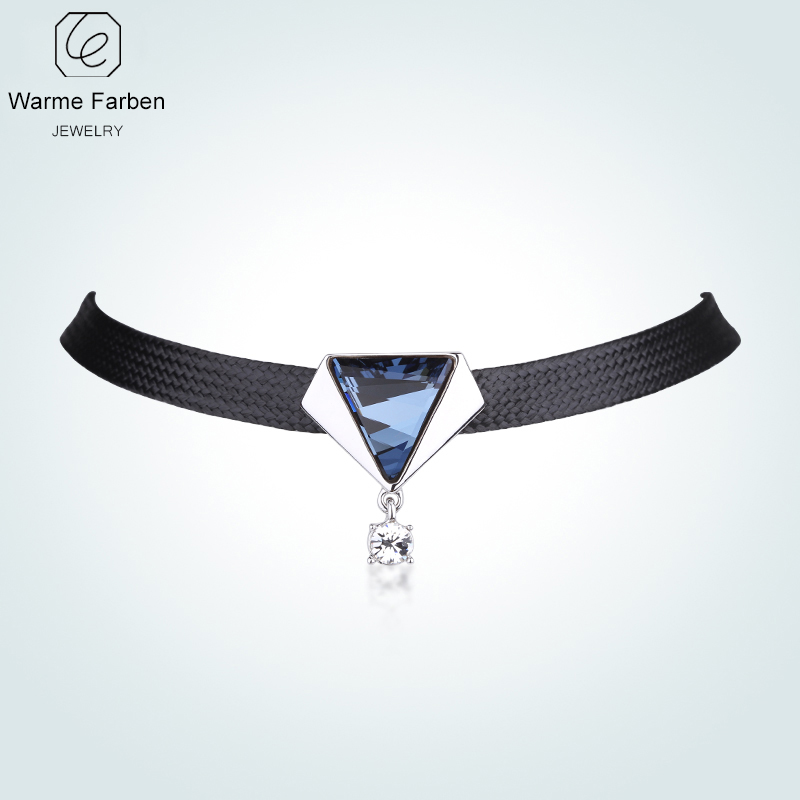 WARME FARBEN Crystal from Swarovski Women 925 Choker Necklace Fine Jewelry Baroque  Necklace Black Rope Chain Clavicle Collares-in Necklaces from Jewelry ... f0666861e14e