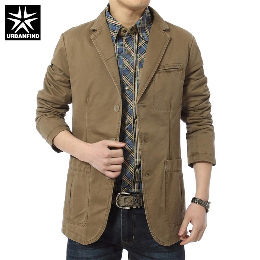URBANFIND 2018 Spring Men Cotton Casual Blazer Men's Brand Military Jacket Blazers Mens Suit Coat Male Blazer Masculino Jacket
